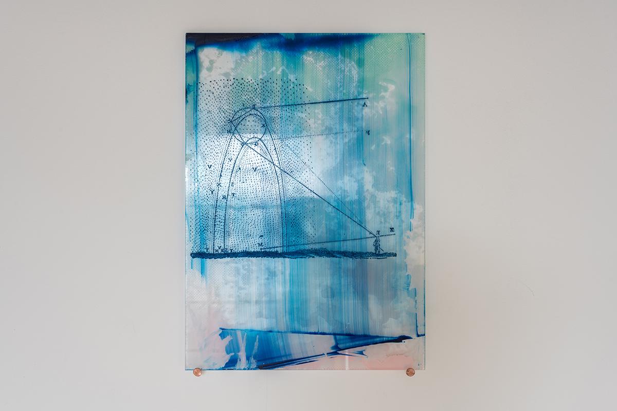 Spectral Diagram — Etched perspex, acrylic paint, 25 cm x 35 cm, 2017.