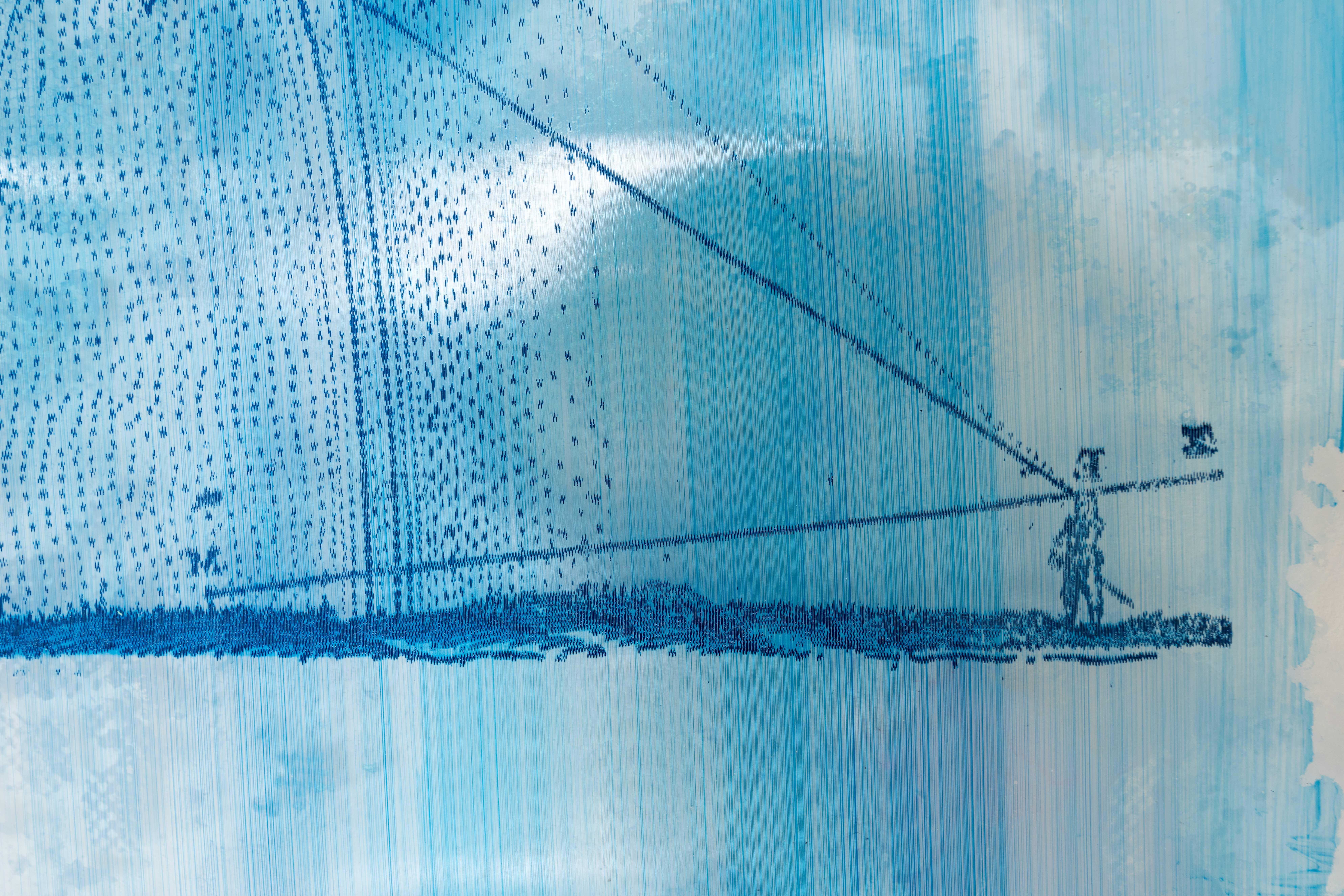 Spectral Diagram (detail) — Etched perspex, acrylic paint, 25 cm x 35 cm, 2017.