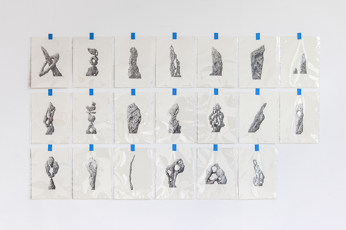 Twenty Imaginary Standing Stones — Pencil on paper, each 23 cm x 30 cm, 2013 - 2016.