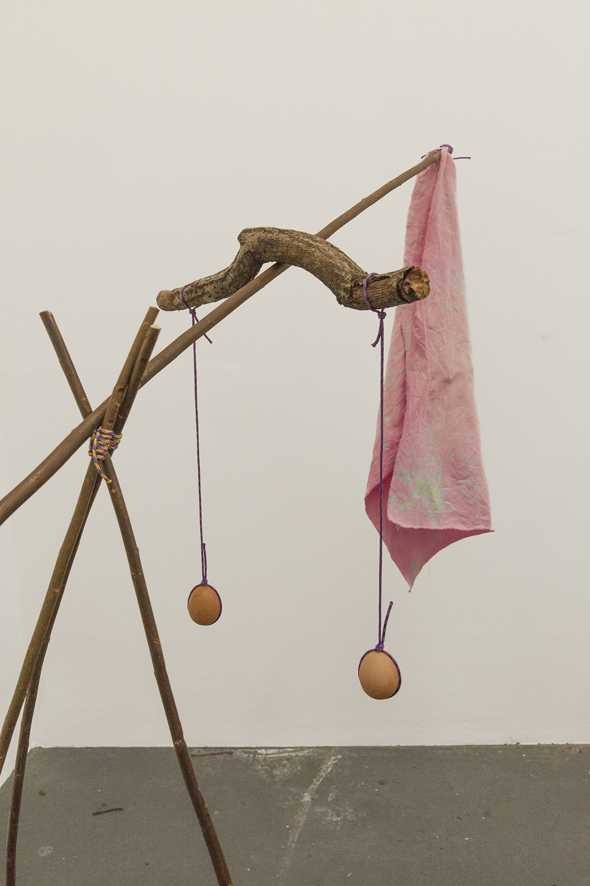 Horse (detail) — Coppiced willow poles, estovers, rope, eggs, stones and cotton dyed with fermented red cabbage, lemon juice and bicarbonate of soda.