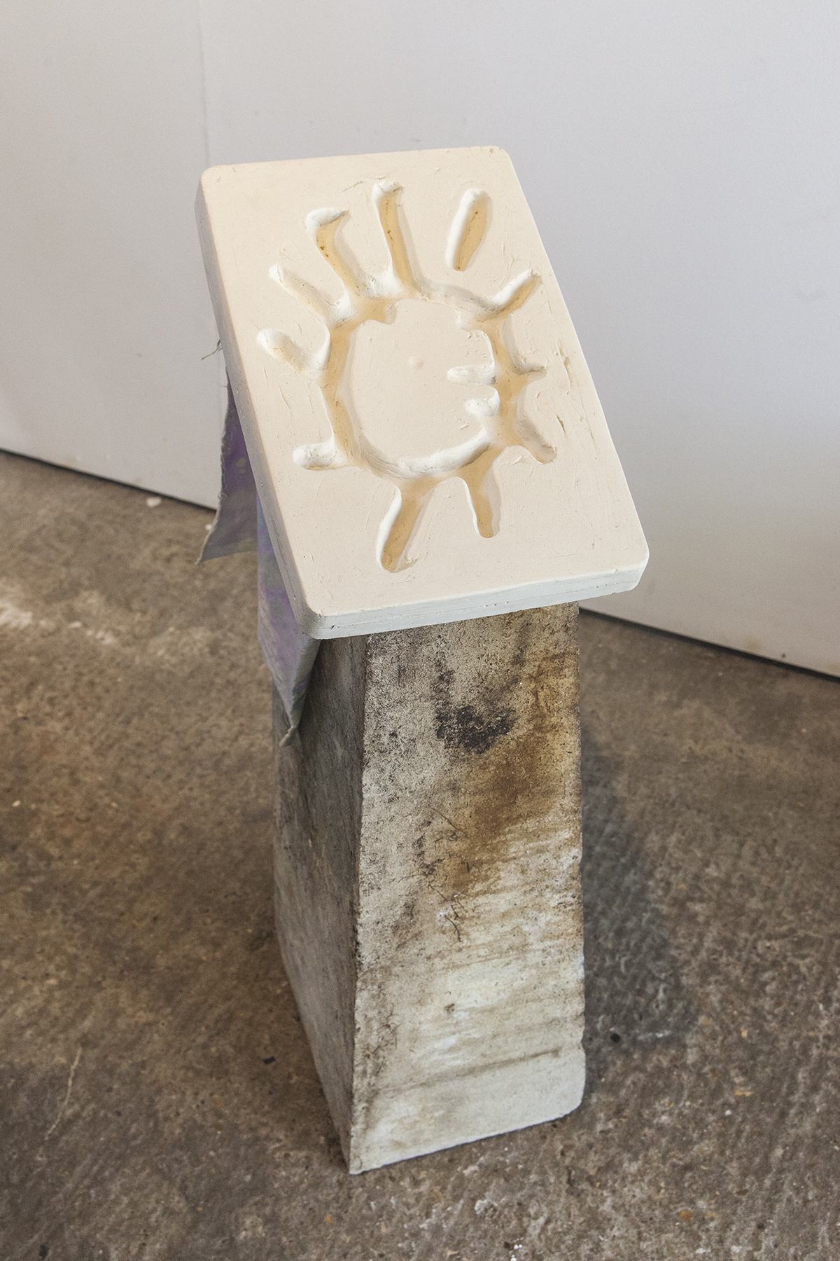 Sun / Shade Salt Cave — Found concrete, plaster, dyed cotton, 2019.