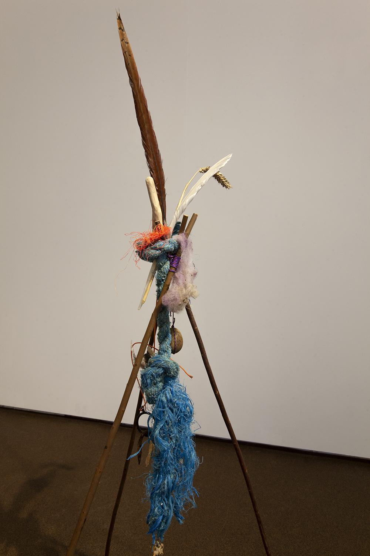 Leavings (Rope). Willow poles, rope, wood, feathers, cable ties, wheat, teeth, bone, wool, plastic, 2020.