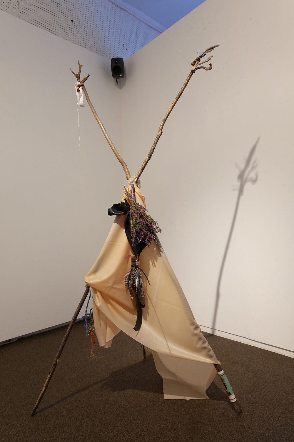 Pan. Willow poles, latex, cable ties, rope, heather, rubber, bone, wood, iron, wool, paper, feathers, 2020.