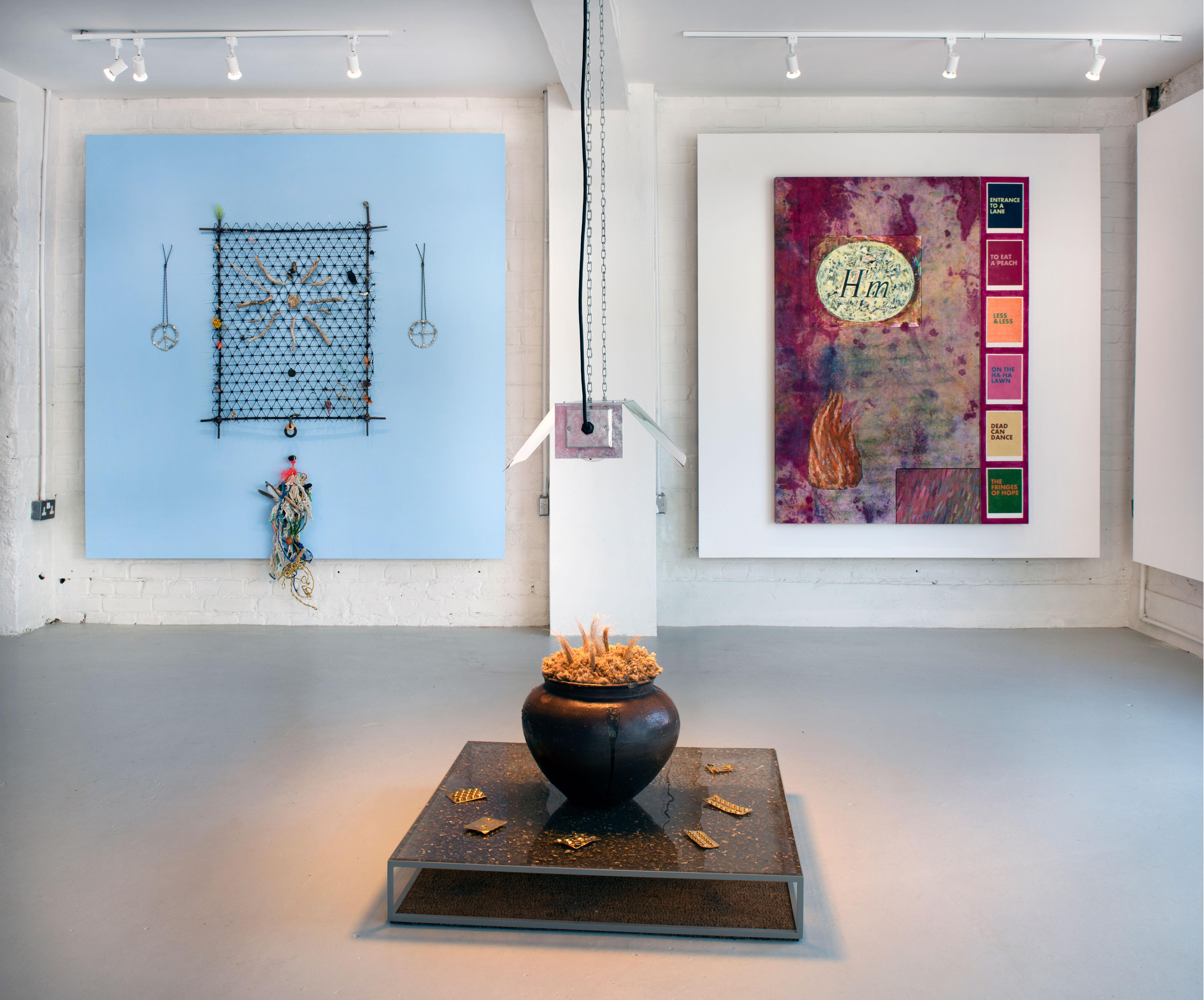 Installation view: Tom Sewell, Dan Howard-Birt, Steven Claydon.