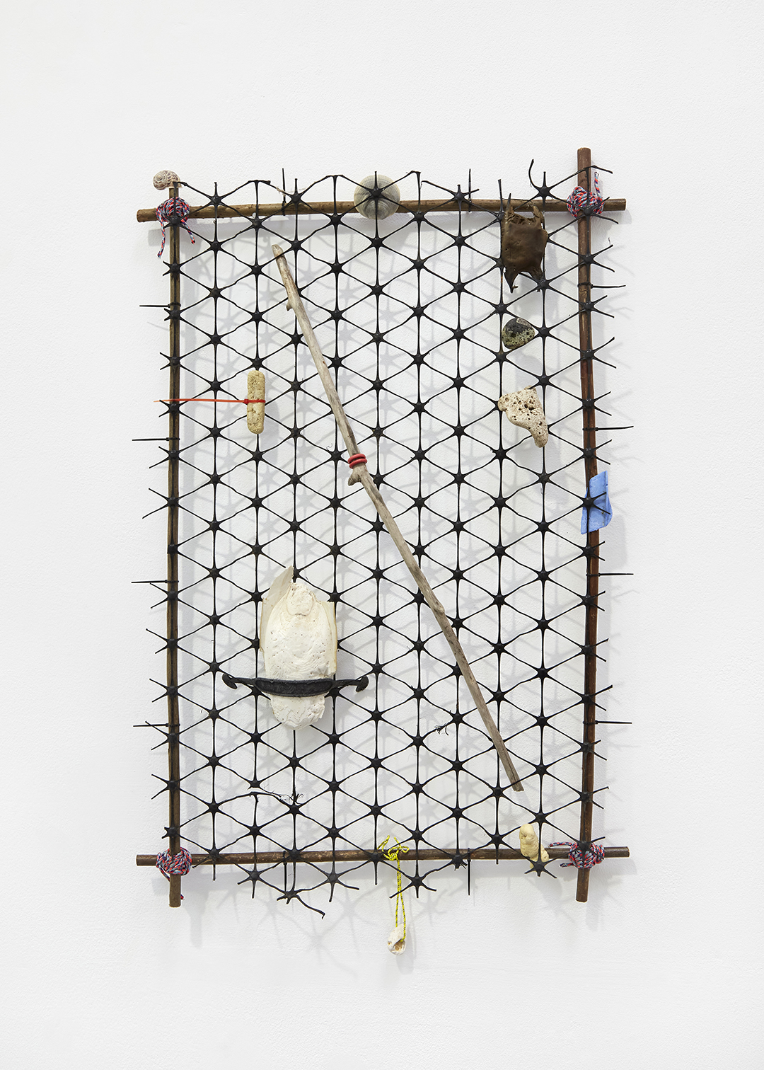 Field — Willow, paracord, cable ties, section of fence, plastic, cuttlefish bone, stone, pyroplastic, wire, mermaid's purse, flint, whalebone, driftwood.